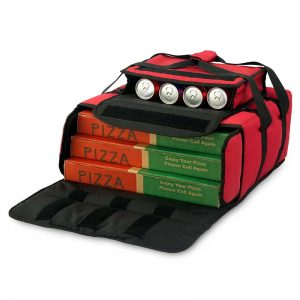 Heated pizza delivery bag opened