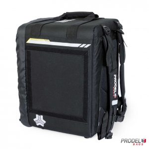 BYK black food delivery backpack side view
