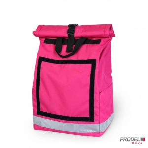 Pink delivery messenger bag front view