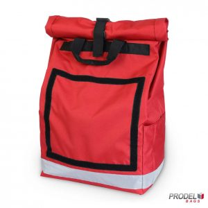 Red delivery messenger bag front view