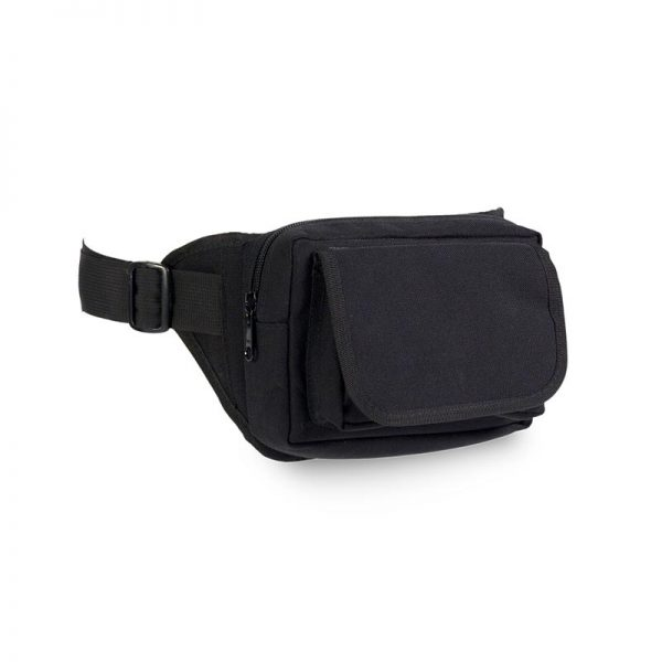 Prodel black waist bag with zipper and front Velcro closure