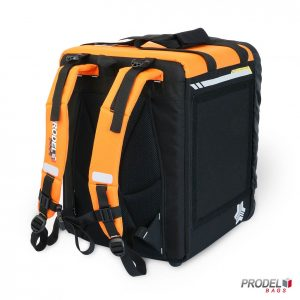 orange food delivery backpack back view