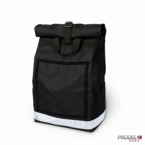 black delivery messenger bag front view