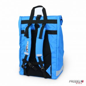 light blue messenger delivery bag back view