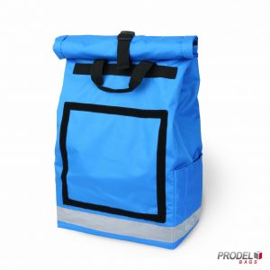 light blue messenger delivery bag front view
