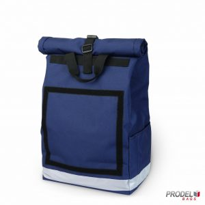 navy delivery messenger bag front view