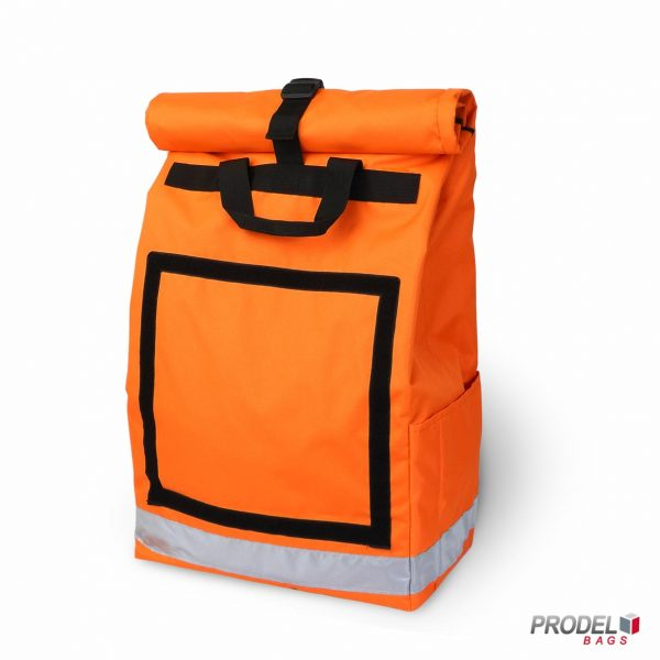 orange delivery messenger bag front view