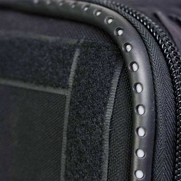 rigid and durable fabric with flex in front of the delivery backpack