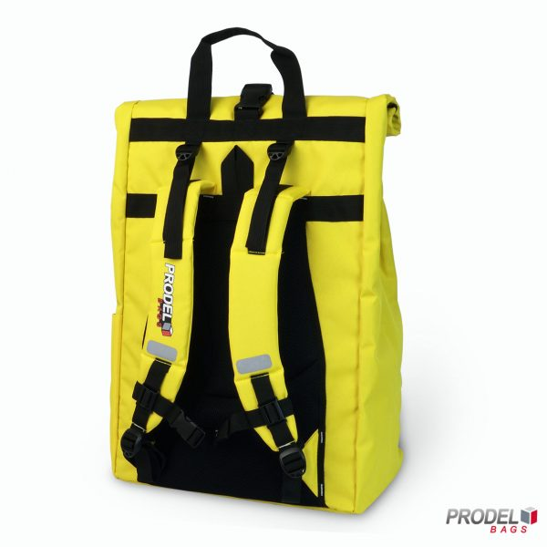 yellow delivery messenger bag back view