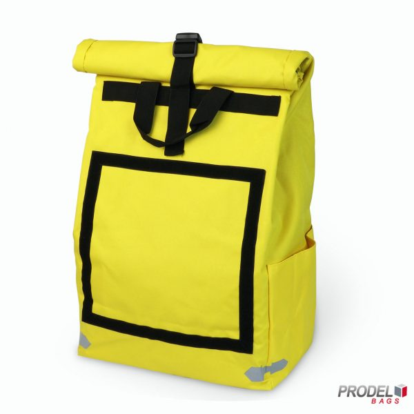 yellow delivery messenger bag front view