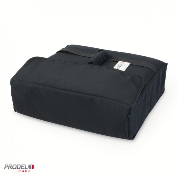 black insulated pizza bag closed