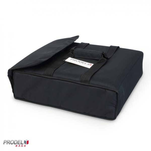 black insulated pizza bag side view