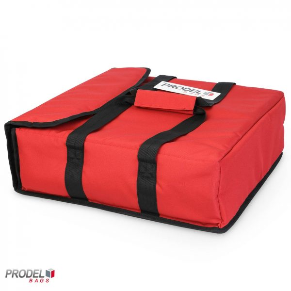 red pizza delivery bag side view