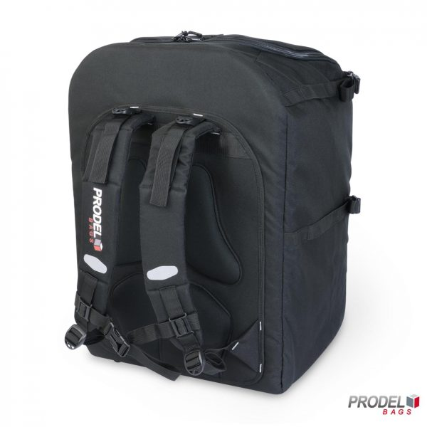 black free style messenger backpack back view