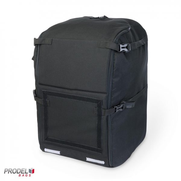 black free style messenger backpack front view