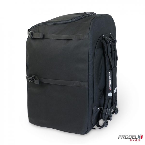 black free style messenger backpack side view