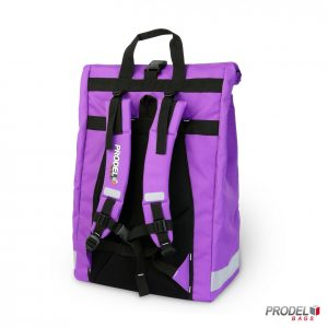 purple delivery messenger bag back view