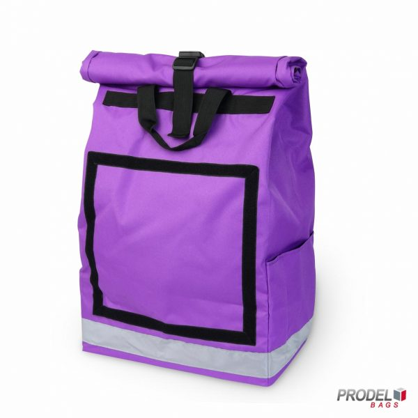 purple delivery messenger bag front view