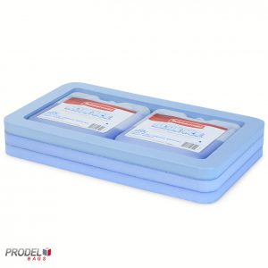 deep freeze blue bag holder with blue ice bag
