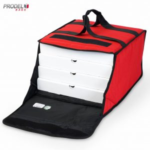 insulated pizza bag with pizza boxes inside