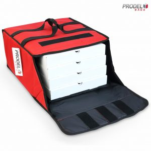 insulated pizza bag opened with pizza boxes inside