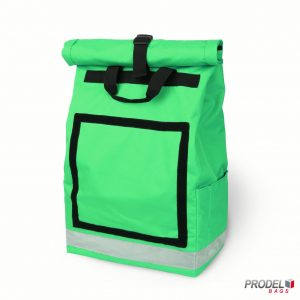 green delivery messenger bag front view