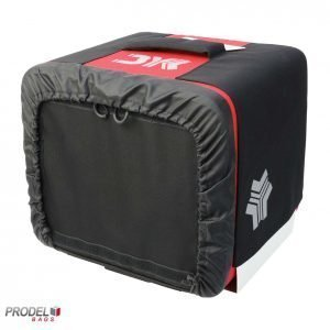 front view of red delivery box for motorbikes