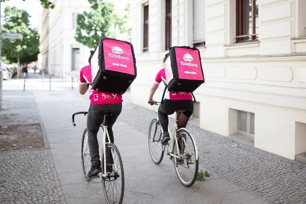 foodora food delivery drivers back view