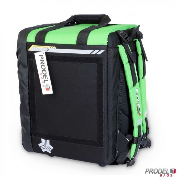 BYK green insulated bag for hot food delivery side view