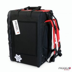 BYK red insulated food bag side view