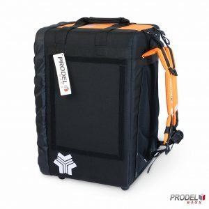 BYK orange food delivery backpack side view