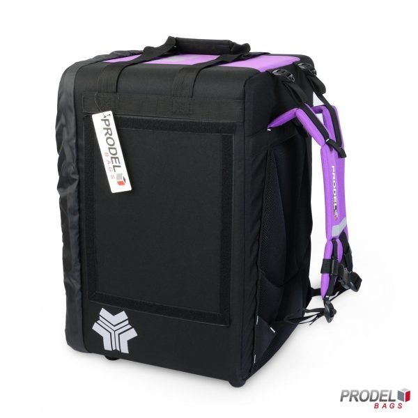BYK violet insulated bag for food delivery side view